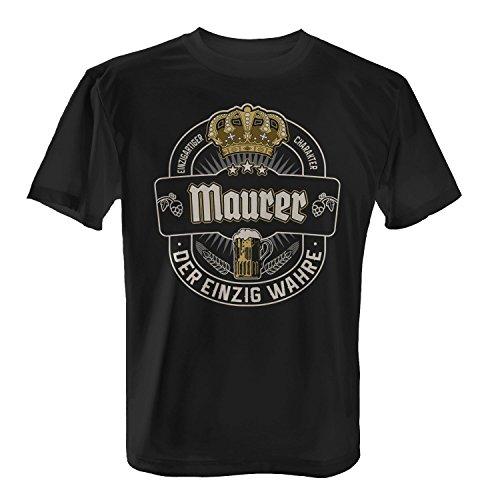 Fashionalarm Herren T-Shirt - Der einzig wahre Maurer | Fun Shirt mit Bier Etikett Motiv | Lustige Geschenk Idee Handwerker BAU Beruf Job Arbeit, Farbe:schwarz;Größe:XL