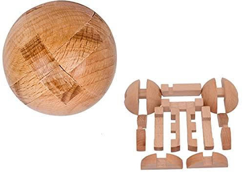 SHUYUE 수제 나무 퍼즐 매직 볼 두뇌 티저 장난감 지능 게임 구 퍼즐 성인을위한