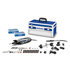The Holiday Platinum Edition - offers the highest value. Kit includes 4300 high-performance rotary tool, nine attachments including the Flex shaft attachment, 64 Genuine Dremel accessories, and a storage case! Universal 3-jaw chuck – tool-less and co...