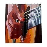 Duschvorhang, Gitarren-Instrumenten-Spiel, Stoff, Badezimmer-Dekor-Set mit Haken, 183 cm lang