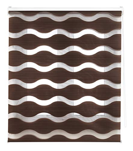 Blindecor rolgordijn dubbel stof nacht en dag golvend hoge kwaliteit anti-fray, 100 x 180 cm, bruin, 100 x 180 cm