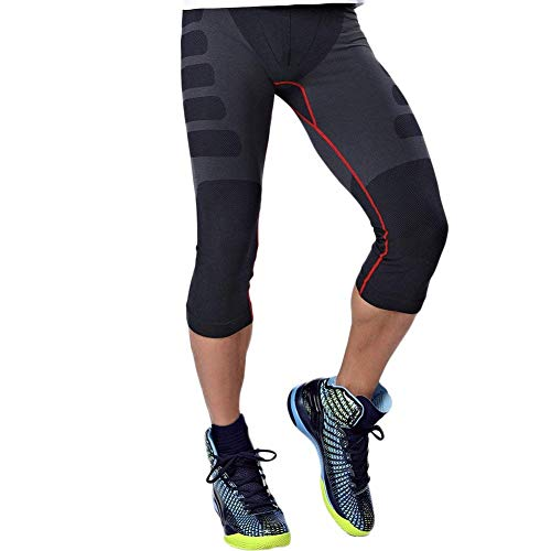 HuntDream Männer Teenager Jungen Compression Tight Sport Leggings Basisschicht 3/4 Capri Shorts Hosen
