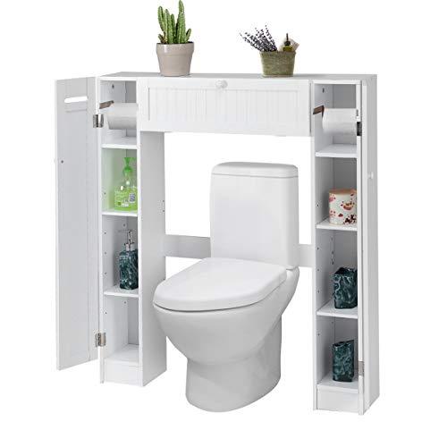 GOPLUS WC Toilette Schrank, Toilettenregal Weiß, Toilettenschrank Waschmaschinenregal Badezimmerregal Badmöbel Standregal für Bad, 98 x 87 x 18 cm