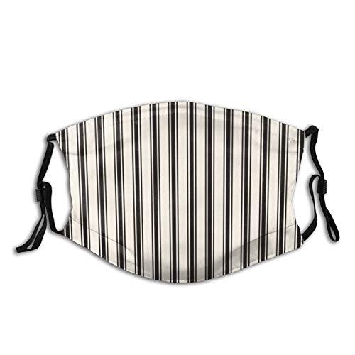 Patrón clásico de rayas de tela negra y crema para la cara Ma_sk lavable reutilizable boca co_ver para mujeres y hombres a prueba de polvo a prueba de viento