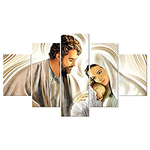 Lupia Quadro Sacro 5 Pezzi in Legno Vogue 66X115 cm Nativity Brown