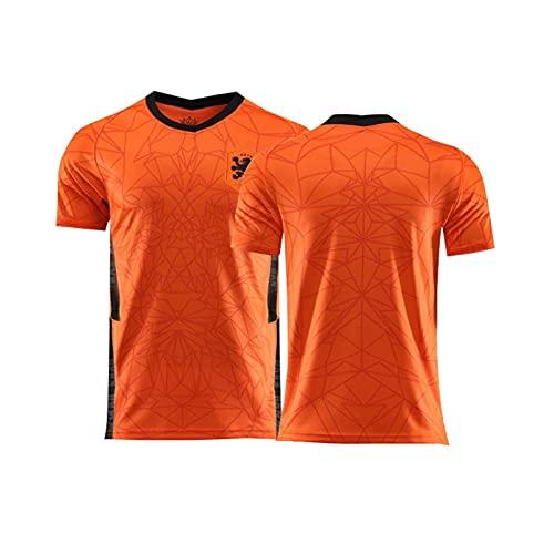 YouLpoet Camiseta Fútbol para Hombre Camiseta Insignia Bandera Retro País Torneo Aficionados Europeos Camiseta Fútbol Cuello Redondo,Orange 1,XS
