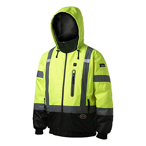 PIONEER High Visibility, Waterproof, 300D Nano Tech Heated Safety Bomber Jacket with Detachable Hood, Reflective Tape, Yellow, V1210160U-2XL