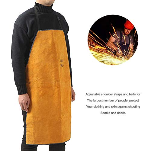 Brownrolly leer smeed heavy duty vlamvertragend middel lassen veilig werken schorten, mannen vrouwen unisex verstelbare werkplaats beschermende kleding - geel