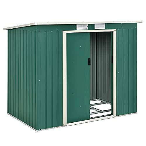 Juskys Metall-Gerätehaus M mit Pultdach, Schiebetür & Fundament   4 m³   klein   grün   Stahl Geräteschuppen Gartenhaus Schuppen