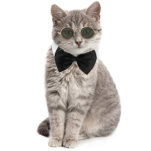 Pet Bow Tie Adjustable Formal Collar Neck Tie and Stylish Funny Cute Pet Sunglasses for Cats and Dogs, 2 Pieces (Black White)