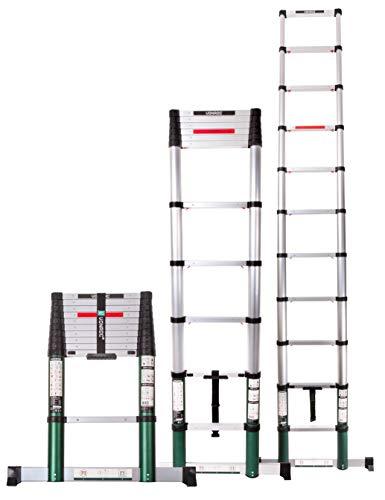 Preisvergleich Produktbild VONROC Profi Teleskopleiter 3, 2 Meter,  gemäß DEKRA-Zertifizierung und EN 131,  sehr robust gebaut und montiert für Ihre Sicherheit mit Softclose-System und Querträger für zusätzliche Stabilität
