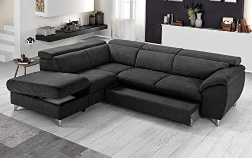 Sofá cama esquinero tejido romeo negro chaise longue a la izquierda