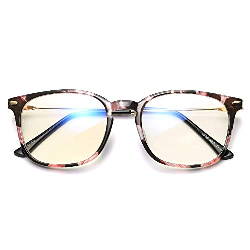 HUNAKU Anti-Blue Light Glasses, TR90 Metal Frame, Anti UV400 Protection, Anti-Eye Fatigue Glasses, Gaming Computer Glasses,Men's and Women's Glasses (Flowers)