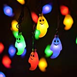LEVIITEC Solar Halloween Decorations String Lights, 30 LED Waterproof Cute Ghost LED Holiday Lights for Outdoor Decor, 8 Modes Steady/Flickering Lights [Light Sensor] 19.7ft Multicolor