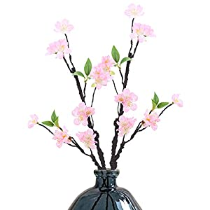XYXCMOR 2Pcs Plum Blossom Silk Cherry Blossom Branches Artificial Blossom Fake Flower Arrangements for Kitchen Table Centerpieces Wedding Decorative Light Pink