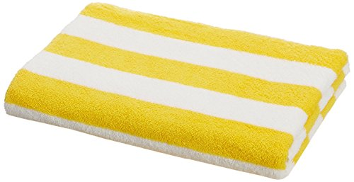 Amazon Basics - Toalla de playa, de rayas Cabana, color amarillo, pack de 1