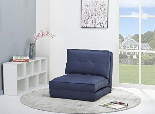 ARTDECO Schlafsessel Gästebett Jugendsessel Bettsessel (Stoffbezug Blau groß)