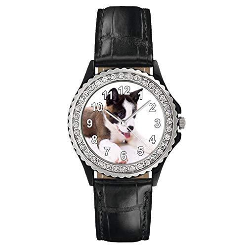 Timest - Akita - Reloj del Cuero Negro para Mujer con Piedrecillas Analógico Cuarzo SGP0011b