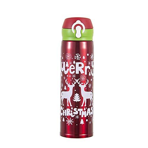 B/H 100% a Prueba de Fugas Taza Viaje Acero,Frasco de vacío de Acero Inoxidable navideño, Tapa de Rebote, Taza de Estudiante, Rojo,Termo Taza de café BPA-Free