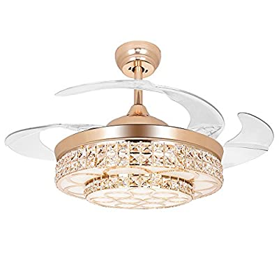 COLORLED European Crystal Ceiling Fan 42-inch with Four Retractable Transparent Blades and Remote Control Fan Chandelier Led Lights Fixture