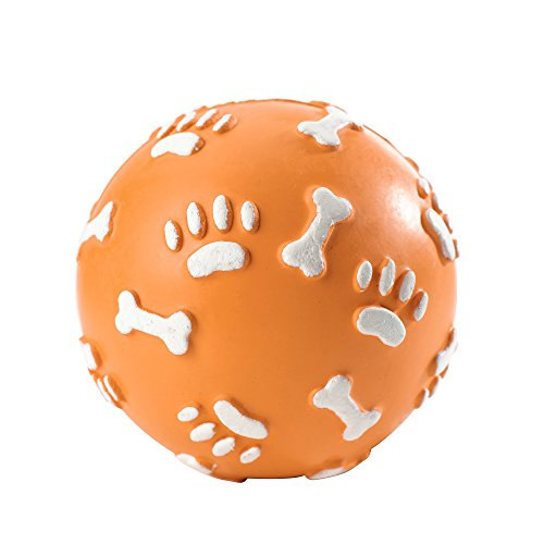 HUNTER Vollgummiball, Hundespielzeug, Gummiball, Pfoten-und Knochenprint, zahnfreundlich, M, 9 cm, blau