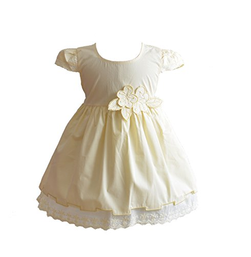 Cinda Robe de Coton d'été de bébé Filles Jaune 9-12 Mois