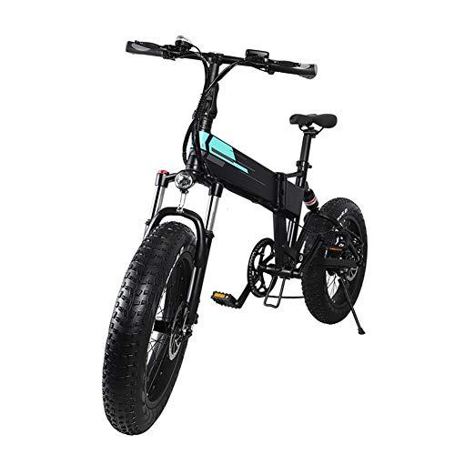 Zoomarlous Bici elettrica, Mountain Bike elettrica, Bici elettriche Pieghevoli in Alluminio 20x4 Pollici 36V 12,5Ah Batteria ad Alta capacità, 3 velocità, 250W