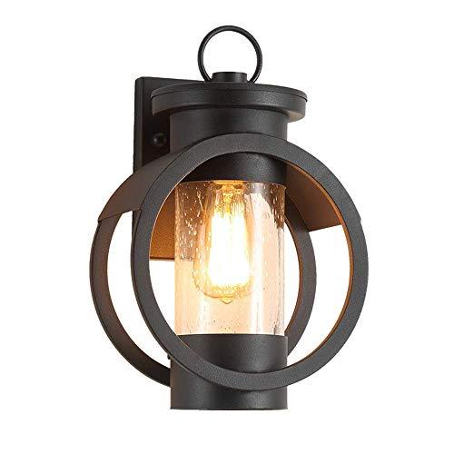 ADDG Apliques de Pared de Pared al Aire Libre, Vintage LED Black Hierro Negro Vidrio Colgante de Vidrio lámpara de Pared Aplique Aplique Antique Industrial Garden Balcon Mesa de Comedor