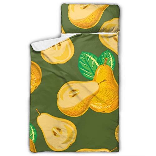 Doreen DaltonKids Schlafsack-Muster, gelbe Birnen-Scheiben, Nickerchmatte mit Kissen für Kleinkinder, Jungen und Mädchen, Klassische Schlafsack, perfekte Größe für Tagespflege und vor
