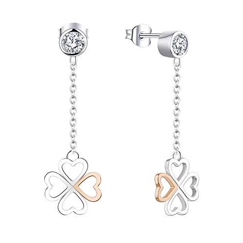 FJ Damen 925 Silber Medium 4 Blatt Klee Tropfen Ohrringe In Roségold und Silber Mit Geschenkbox