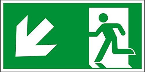 LEMAX® Rettungszeichen Rettungsweg links abwärts,ASR/ISO,Folie,selbstklebend,300x150mm