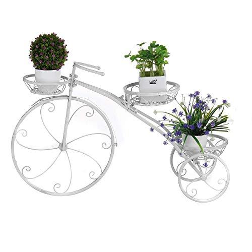 aasdf Soporte para Plantas de 3 Niveles Soporte de Metal para macetas de Bicicletas para macetas para Interiores y Exteriores Hierro Forjado para Bicicletas Macetero Soporte de Flores Soporte de e