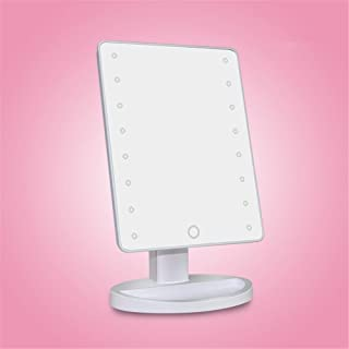 Little Fairy, Makeup Mirror, Makeup Mirror White Pink LED Makeup Mirror with Lamp Lighting Mirror with Touch Screen Dimming 180