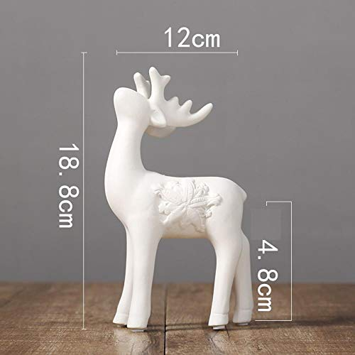 hacpigbb Estatuas Cerámica Ciervos Animales Estatua Blanca Decoración del Hogar Decoración Regalos Artesanías Pintadas A Mano - Ciervos 1