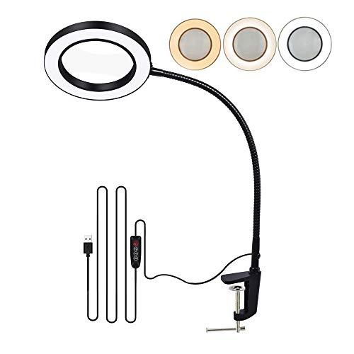 Lámpara de Mesa LED 5X Toolour Lámpara de Aumento con Puerto de Carga USB Lámpara de Escritorio de Cuello de Cisne Flexible para Oficina en Casa, Lectura para el Cuidado de Los Ojos