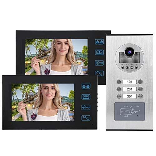 YSAYK 7in 2 Monitores Timbre con Video para El Hogar Teléfono con Cámara Sistema De Acceso A La Puerta 100-240V Timbre