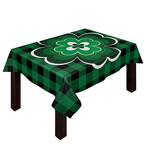 St. Patrick's Day Retro Celtic Knots Tablecloths for Rectangle 60 x 90-inch Table Cover, Cotton Linen Fabric Table Cloth for Dining Room Kitchen, Lucky Clover Green Plaid