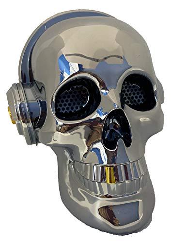 Altavoz Calavera Skull Bluetooth portatil, Tarjeta SD, Pendrive USB, Auxiliar, con Soporte para apoyar el móvil. Bluetooth Skull Speaker (Bronce)