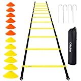 Ohuhu Speed Training Ladder Agility Training Set - 12 Rung 20Ft Agility Ladder and 12 Field Cones,4 Steel...