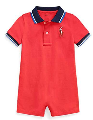 Ralph Lauren Body de algodón piqué para niños de bebé, pantalones cortos de malla de pony, para ropa de juego - rojo - 18 meses
