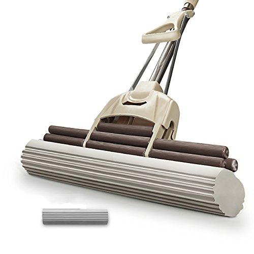 zxqz Schwamm Mop/Roller Whell Typ Squeeze Wasser/Teleskop/Edelstahl/PVA Kollodium/Freie Hand Wash Mop (PVA Kollodium Head Menge Optional) drehbarer Mop, 2#