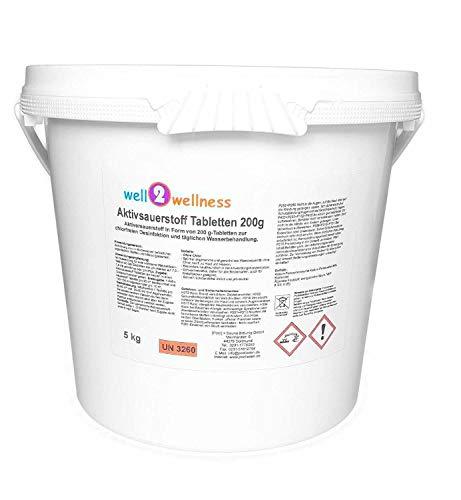 well2wellness Aktivsauerstoff Tabletten 200g / Sauerstofftabletten/O²-Tabletten 200g chlorfrei - 5,0 kg