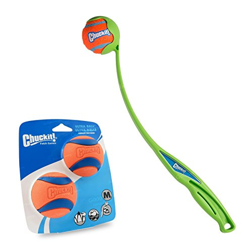 Chuckit! Sport 18 Medium Ballwerfer 46 cm mit 2 Stück Medium Ultra Ball – Wurfspiel Apportierspiel-Bundle