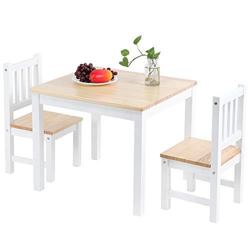 Juego de comedor de 3 piezas para sala de estar, cocina, 1 mesa y 2 sillas, juego de mesa simple y elegante muebles de salón de madera de pino (natural)