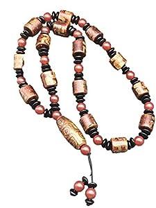 ZHIBO Halskette mit natürlichen Achat-Dzi-Perlen, Buddha-Perlen, für Damen und Herren, antiker Schmuck