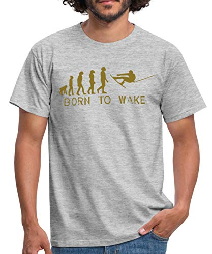 Born to Wake, Evolution, I Love My Wakeboard, Wakeboarder, Wakeboarding, Kiteboard, Skateboard, Snow Männer T-Shirt, S, Grau meliert