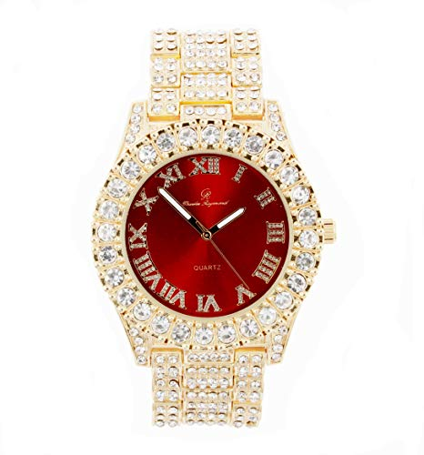Bling-ed Out Round Metal Mens Color on Blast Silver Tone Watch with Diamond Time Indicators - Ice on Fire!!! - ST10327DxxS (Gold Red)