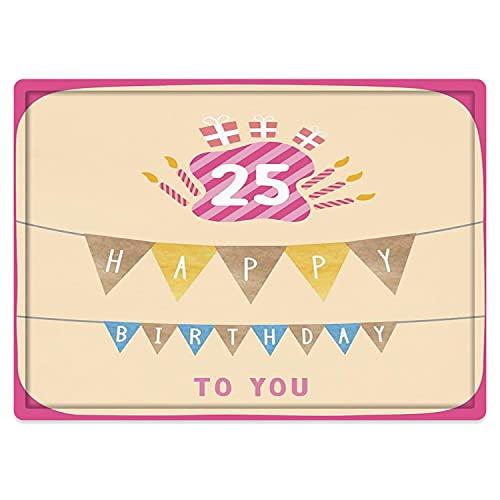 Badematte & Bodenmatte 50x80cm,25. Geburtstag Dekorationen, rosa Rahmen niedliche Flaggen mit Buchstaben Brennen Kerzenhalter Gesch rutschfeste Badezimmerteppiche, weiche Badezimmerteppiche
