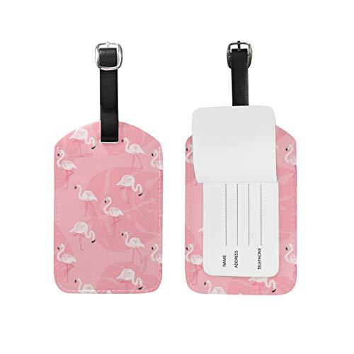 Tropical Flamingo equipaje etiqueta PU cuero bolsa viaje maleta equipaje etiqueta 2 piezas conjunto