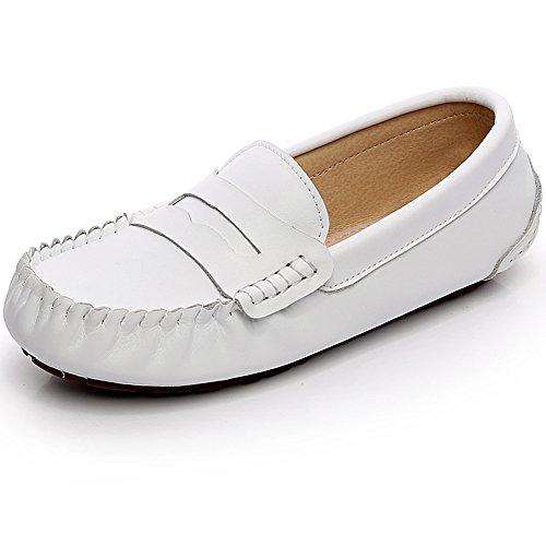 Jamron Herren Kunstleder Stilvoll Schnalle Mokassin Loafers Penny Loafers Weiß 9923 EU41.5